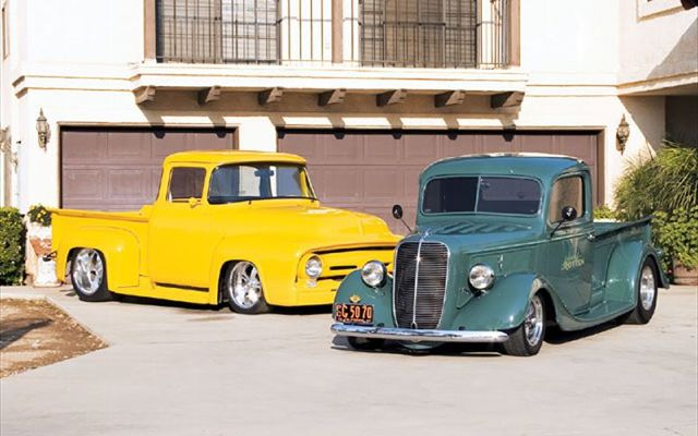 0803ct_01_z+1937_ford_pickup_and_a_1956_ford_f100+